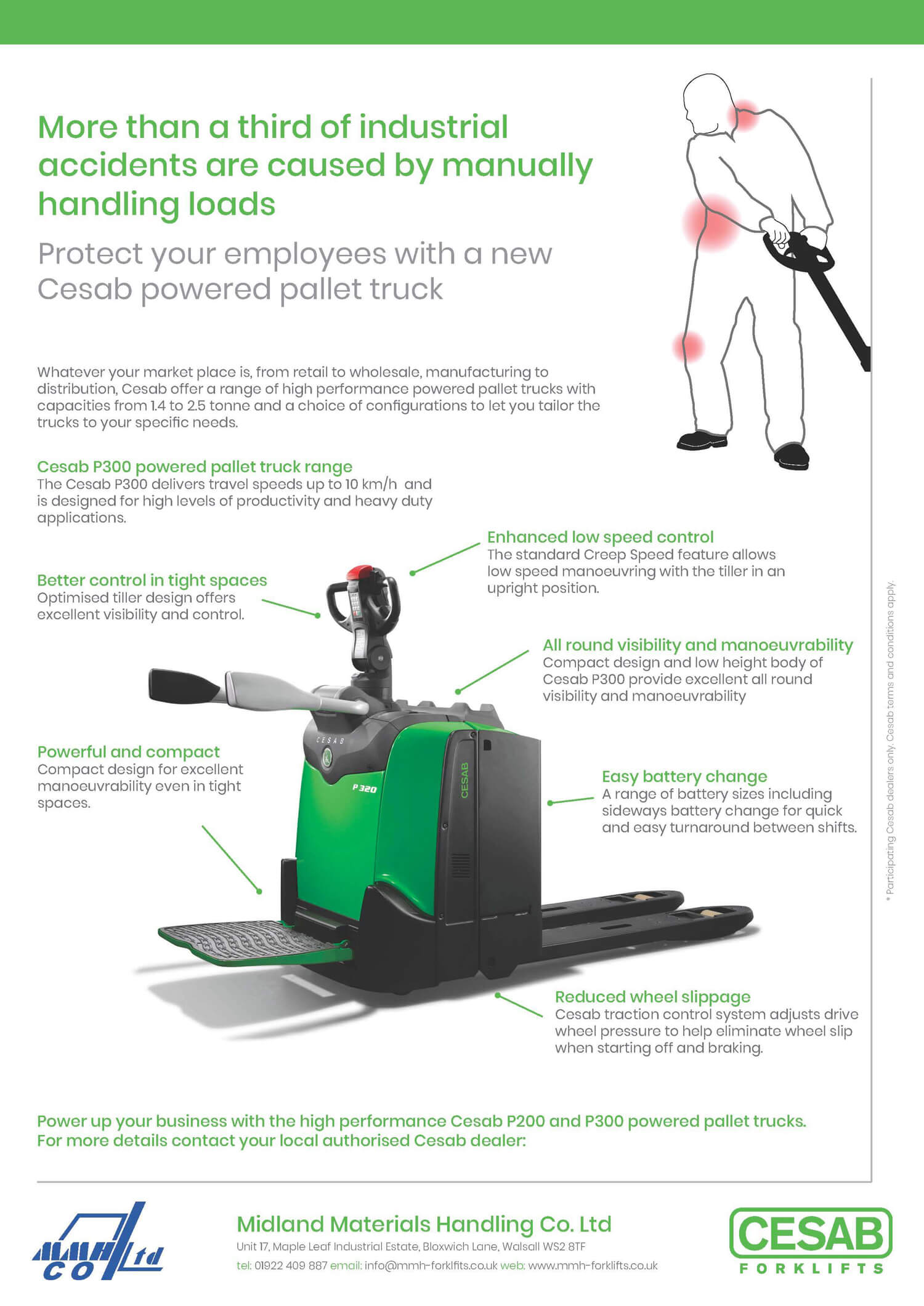 Protect your employees with a new Cesab powered pallet truck